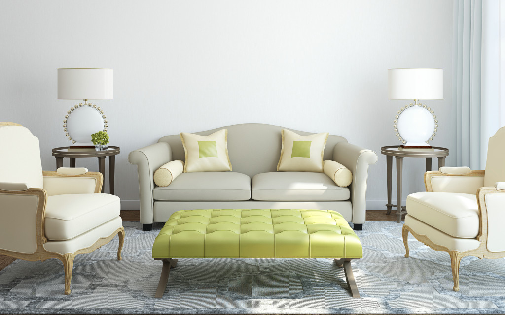 interior-minimalist-living-room-design-solid-wooden-floor-gray-patterned-woven-carpet-gray-fabric-sofa-white-leather-arm-chairs-rectangle-yellow-green-upholstery-tuft-round-glass-side-table-wooden-fra